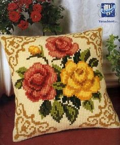 Набор  для вышивания крестиком VERVACO. Желтые и красные розы Вервако 1200-613