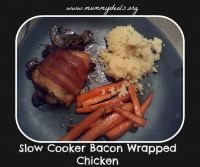 Slow Cooker Bacon Wrapped Chicken on MyRecipeMagic.com #chicken #bacon #slowcooker