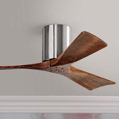 "42"" Matthews Irene 3-Blade Walnut-Chrome Hugger Ceiling Fan - #7C841 | Lamps Plus"