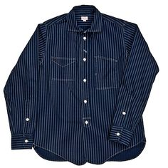 blue striped work shirt, vintage style by K H Overalls Mfg Co, japan