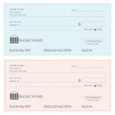 Blank bank checks or cheque book, vector... | Premium Vector #Freepik #vector #business #books #icon #template Cheque, Printable Checks, Templates Printable Free, Printables, Cremas Mary Kay, Blank Check, Business Checks, Business Planner, Finance