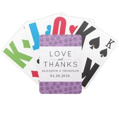 Thank You - Dog Paws Traces Paw-prints - Purple Bicycle Playing Cards - thank you gifts ideas diy thankyou