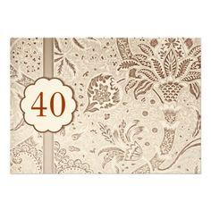 40 anniversary vintage luxury invitations