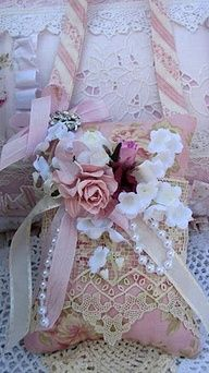Vintage look of roses and lace.