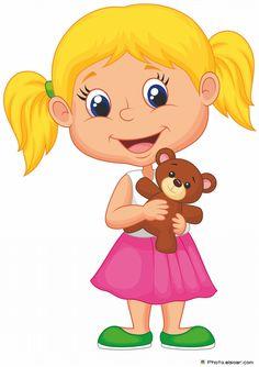Stock vector of 'Vector illustration of Little girl cartoon holding bear stuff' Cartoon Cartoon, Funny Cartoon Pictures, Cartoon Images, Cartoon Drawings, Cute Pictures, Little Girl Cartoon, Little Girls, Funny Babies, Cute Babies