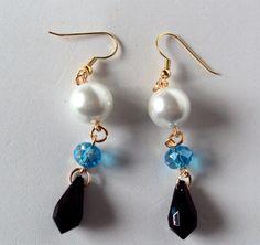 white pearl earrings bauble earrings long earrings by NezDesigns, $7.00