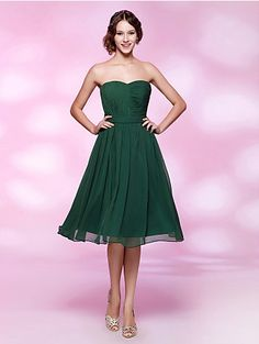 Bridesmaid Dress Cocktail Party/Homecoming/Holiday/Wedding Party Dress A-line/Princess Strapless/Sweetheart Knee-length Chiffon Dress  Easebuy! Free Measurement!