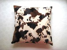 "Fall Home - Velvet Cream Pillow Cover with Brown and Cinnamon Cow Skin Print - 18x18"" - Gift for Her, for Mom - Ready to Ship Decor on Etsy, $18.00"