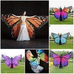 New Adult Girls Butterfly Belly Dance Costume Isis Wings Stage Show Dance Wear Costume Halloween, Halloween Gifts, Butterfly Halloween Costume, Dance Costumes Kids, Belly Dance Costumes, Full Body Costumes, Butterfly Dress, Butterfly Wings Costume, Monarch Butterfly Costume