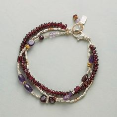 """LIFE, LOVE AND LAUGHTER BRACELET #75303 $148.00 ~ Sundance.  Every strand tells a story; together they embrace the whole of life. Handmade in USA with garnets, amethysts and a mingling of sterling silver and 14kt gold filled beads. Exclusive. 7-3/4""""L."""
