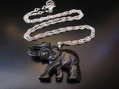 Elephant Pendant Black Onyx Carved Elephant by PumpkinBeads