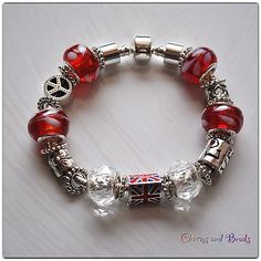 European Style Fashion  Beads  Bracelet,  peace and love, red, union jack