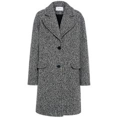 Carven - Oversized Herringbone Tweed Coat ($990) ❤ liked on Polyvore featuring outerwear, coats, jackets, single-breasted trench coats, fur-lined coats, oversized coat, tweed coats and carven coat