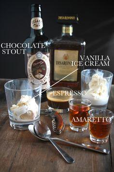 Affogato Speciale:  2 scoops vanilla ice cream 4 oz. amaretto 4 oz. espresso (2- 2 oz. shots) 8 oz. chocolate stout