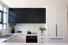 White Kitchen Cabinets, Black And White, Home Decor, Off White Kitchen Cabinets, Whitewash Kitchen Cabinets, Decoration Home, Black N White, Room Decor, Black White
