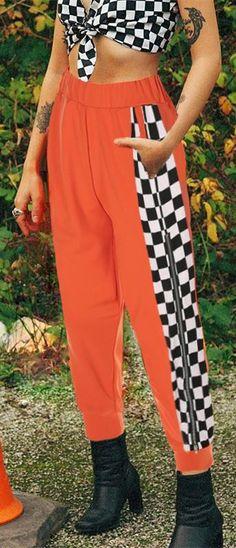 Women Girly Cool Side Zipper Checkerboard Pattern Casual Pants