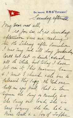 The letter written on board the Titanic hours before it sank. It sold for in Henry Aldridge of Devizes' sale of Titanic collectable. Rms Titanic, Titanic Photos, Titanic Ship, Titanic Wreck, Titanic Boat, Belfast, Titanic Survivors, Titanic Artifacts, A Night To Remember