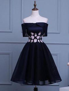 2017 Chic Homecoming Dress A-line Off-the-shoulder Dark Navy Tulle Short Prom Dress SKA106
