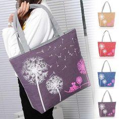 Cartoon Dandelion Printed Shoulder Bag Women Large Capacity Female Shopping Bag Canvas Handbag Summer Beach Bag Ladies N3
