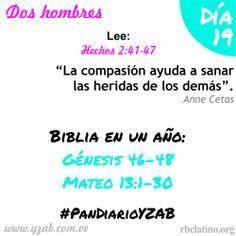 #PanDiarioYZAB Día 19: Dos hombres Biblia en un año: Génesis 46–48 y Mateo 13:1-30 Más detalles: http://wp.me/pDTtq-mt  #YZAB #EVOLUCIÓN #Espiritualidad #EstilismoEspiritual