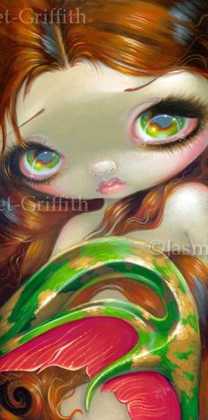 Big Eyed Mermaid - Tail of Mossy Gold by Jasmine Becket-Griffith