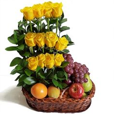Fresh Fruit Arrangement with Roses. Fruit Flower Basket, Fruit Flowers, Send Flowers, Fruit And Veg, Fresh Fruit, Ikebana, Food Bouquet, Fruit Decorations, Flowers Delivered