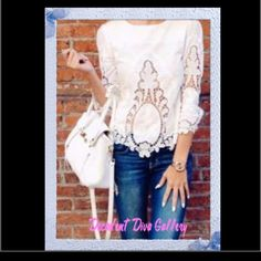 Forest Flower Top 🎀🎀 New Breezy lace details on this boho blouse. Soft white base with 3/4 lace trimmed sleeves with sweet lace detailed hem. Please ask any questions! Tops Blouses