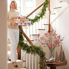 Christmas Garland and Swag Decorating Ideas from Better Homes and Gardens | Learn tips and tricks for decking your halls with fresh, brilliant greenery