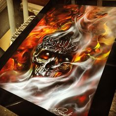 Skulls and Smoke painted by Mike Lavallee of Killer Paint Airbrush Stuidio - www.killerpaint.com
