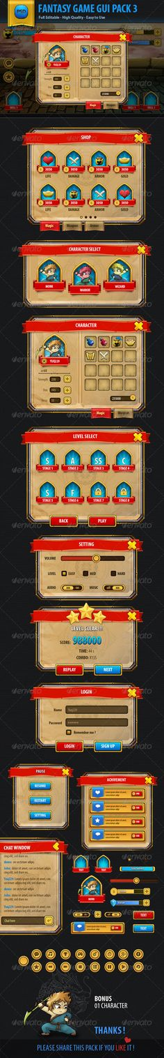 Fantasy Mobile Game Gui Pack 03 - User Interfaces Web Elements