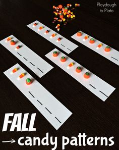 Fall Candy Patterns for Kids. Fun {and tasty!} way to practice patterns. This would make an awesome fall math center.