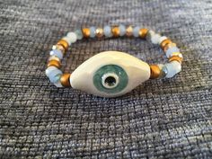 Ceramic evil eye bracelets with 6 mm czech crystal by FsMade