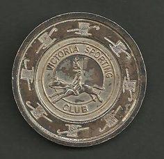 Unusual metal casino token from the Victoria Sporting Club, London, UK.