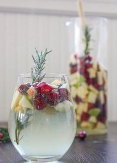 """Cranberry & Rosemary White """"Christmas"""" Sangria - 14 Unbelievable Christmas Cocktails 