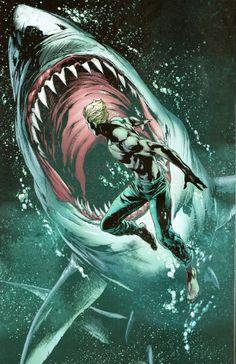 Aquaman vs. Shark by Artista Não Encontrado