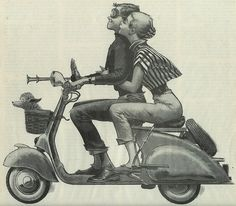 art, illustration,  //  Vespa couple by eggchairsteve