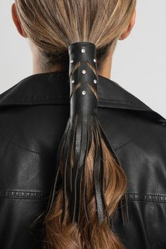 Cut Outs w/Gems & Fringe Hair Glove® 2015 Hairstyles, Fringe Hairstyles, Head Accessories, Leather Accessories, Ponytail Scrunchie, Motorcycle Hairstyles, Leather Tutorial, Viking Hair, Ponytail Holders