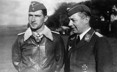 Famed fighter pilot Maj.Werner Mölders (left) with his adjutant, Lt Arthur Laumann, Sept 1940. Mölders became the first pilot in aviation history to claim 100 aerial victories; he was also the leading German ace during the Spanish Civil War.In the summer of 1941, he was promoted to Obest and appointed Inspector General of Fighters. On Nov 22, 1941, Mölders was killed in a plane accident. He was only 28.