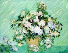 van Gogh, white roses, 1890