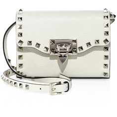 Valentino Rockstud Small Leather Shoulder Bag ($995) ❤ liked on Polyvore featuring bags, handbags, shoulder bags, white leather purse, white leather shoulder bag, purse crossbody, leather shoulder handbags and leather handbags