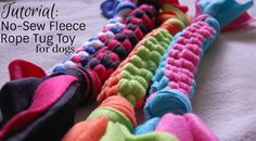 ♥ DIY Dog Stuff ♥ Learn how to make this quick and easy rope tug toy for your dog! Fleece Projects, Diy Dog Toys, Toy Diy, Dog Crafts, Animal Projects, Pet Treats, Homemade Dog, Diy Stuffed Animals, Dog Care