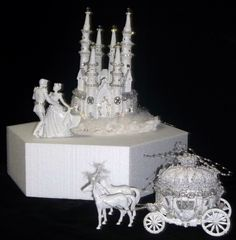 Disney Castle cake topper | Cinderella Castle Coach Horses Lighted Cake Topper Birthday Wedding