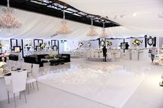 White wedding tent draping