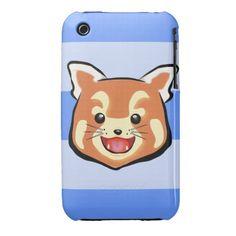 Cute Red Panda  (Blue Stripes) iPhone 3 Cover