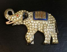 Rhinestone and Enamel Coro Circus Elephant Brooch
