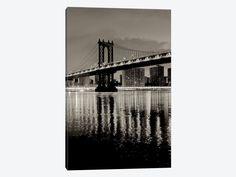 "Wall Art Manhattan Bridge At Night by Alan Blaustein Canvas Print 26"" L x 40"" H x 0.75"" D – eWallArt"