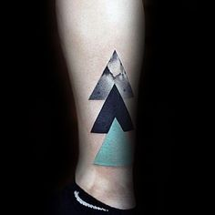 Three Triangles Modern Unique Small Tattoos For Men On Legs