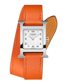 Heure H Double Tour Watch on a Orange Calf Strap by Hermes Timepieces at Neiman Marcus.