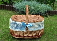 Picnic basket couples gift gift for wedding toile by AgaArtFactory