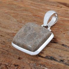 """Fossil Coral 925 SOLID STERLING SILVER PENDANT JEWELRY 6.69g DJP8101 L-1.20"""" #Handmade #Pendant"""
